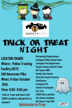 Safety city trick or treat night, Friday, October 26, 2018, 6 to 8 pm.